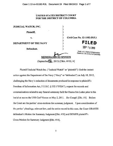 Page 1: JW v Navy Opinion