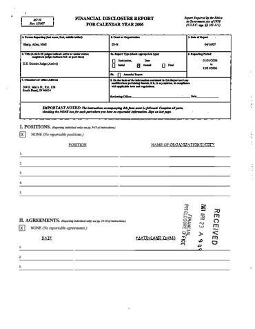 Page 1: Allen Sharp Financial Disclosure Report for 2006