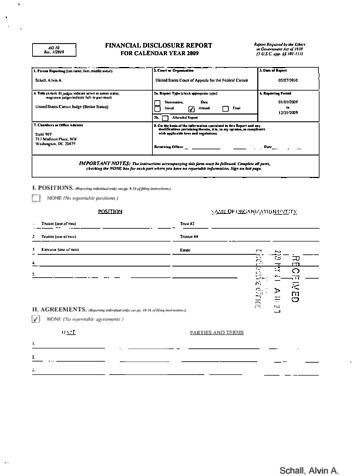 Page 1: Alvin A Schall Financial Disclosure Report for 2009