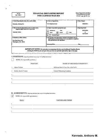 Page 1: Anthony M Kennedy Financial Disclosure Report for 2010