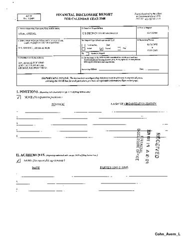 Page 1: Avern L Cohn Financial Disclosure Report for 2008