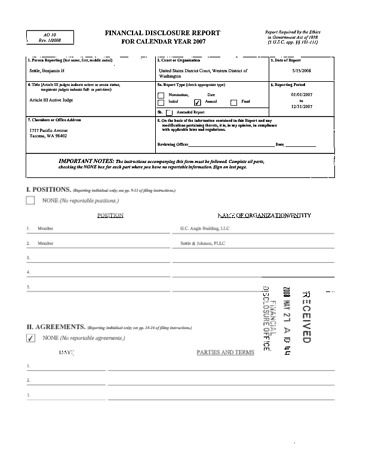 Page 1: Benjamin H Settle Financial Disclosure Report for 2007