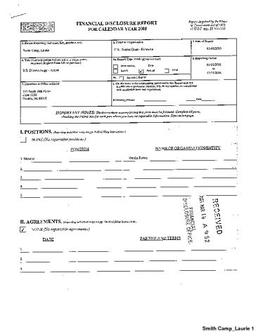 Page 1: Camp Laurie Smith Financial Disclosure Report for 2008