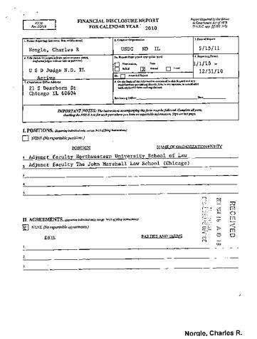 Page 1: Charles R Norgle Sr Financial Disclosure Report for 2010