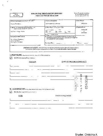 Page 1: Christina A Snyder Financial Disclosure Report for 2009
