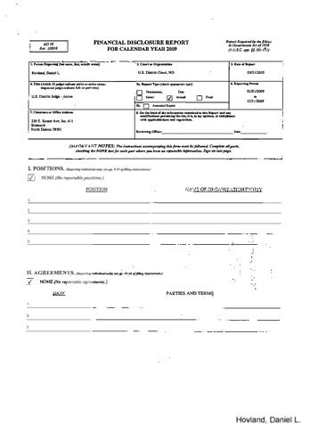 Page 1: Daniel L Hovland Financial Disclosure Report for 2009