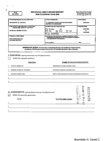 Page 1: David C Bramlette Financial Disclosure Report for 2009