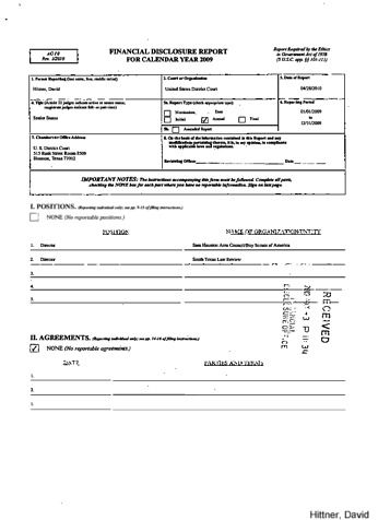 Page 1: David Hittner Financial Disclosure Report for 2009