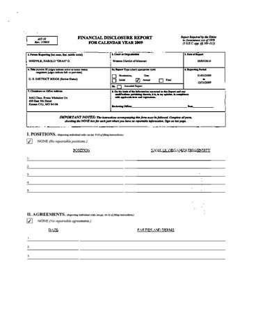 Page 1: Dean Whipple Financial Disclosure Report for 2009