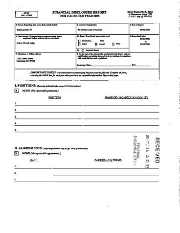 Page 1: Dennis W Shedd Financial Disclosure Report for 2005