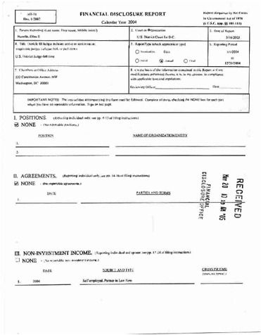 Page 1: Ellen S Huvelle Financial Disclosure Report for 2004