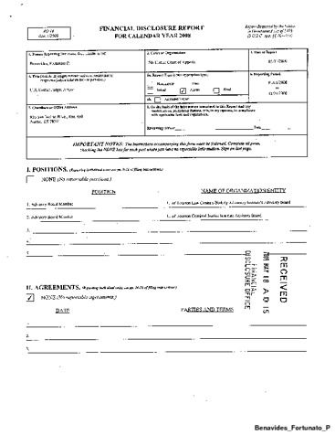 Page 1: Fortunato P Benavides Financial Disclosure Report for 2008