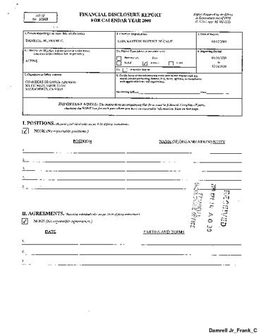 Page 1: Frank C Damrell Jr Financial Disclosure Report for 2008
