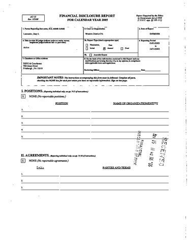 Page 1: Gary L Lancaster Financial Disclosure Report for 2005