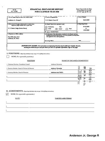 Page 1: George R Anderson Jr Financial Disclosure Report for 2008