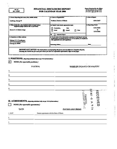 Page 1: George W Lindberg Financial Disclosure Report for 2006