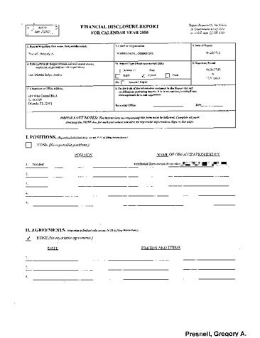 Page 1: Gregory A Presnell Financial Disclosure Report for 2010