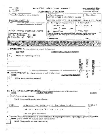 Page 1: Harry F Barnes Financial Disclosure Report for 2006