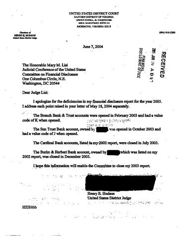 Page 1: Henry E Hudson Financial Disclosure Report for 2003