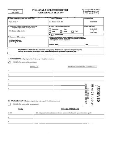 Page 1: Henry F Floyd Financial Disclosure Report for 2007
