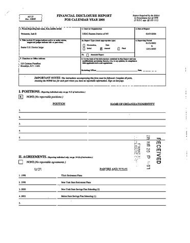 Page 1: Jack B Weinstein Financial Disclosure Report for 2005