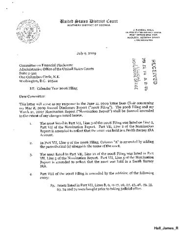 Page 1: James R Hall Financial Disclosure Report for 2008