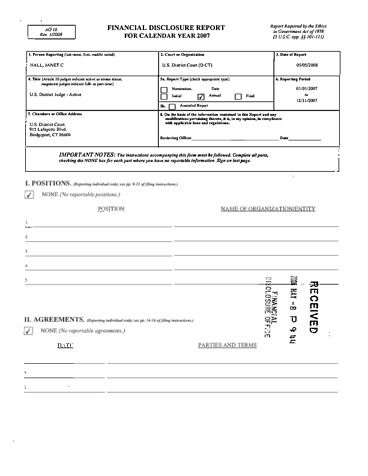 Page 1: Janet C Hall Financial Disclosure Report for 2007