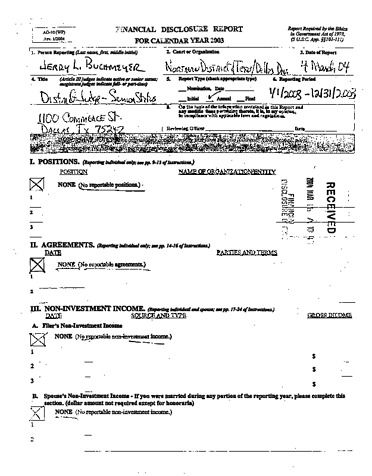 Page 1: Jerry L Buchmeyer Financial Disclosure Report for 2003