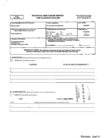 Page 1: Joel H Slomsky Financial Disclosure Report for 2009