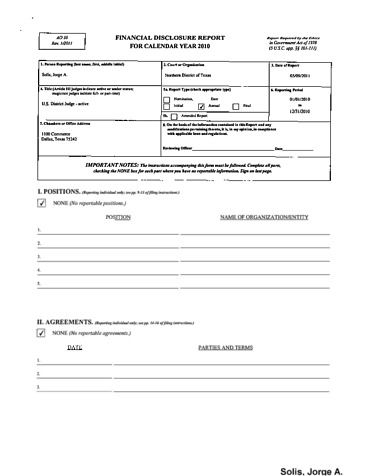 Page 1: Jorge A Solis Financial Disclosure Report for 2010