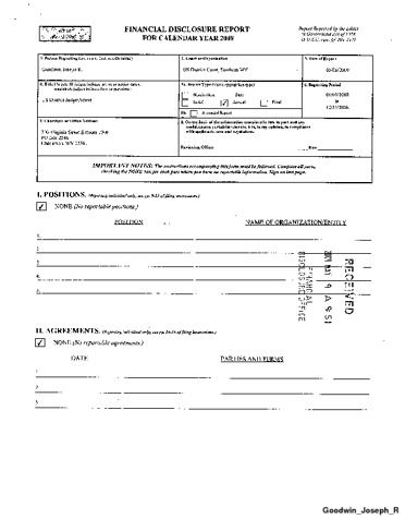 Page 1: Joseph R Goodwin Financial Disclosure Report for 2008