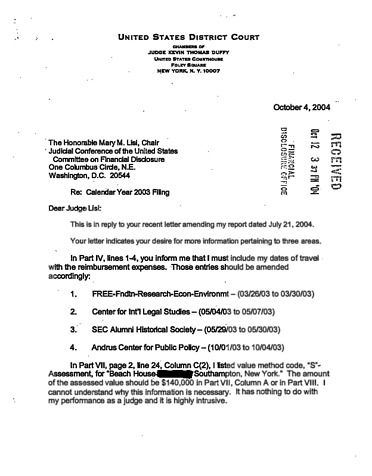 Page 1: Kevin T Duffy Financial Disclosure Report for 2003