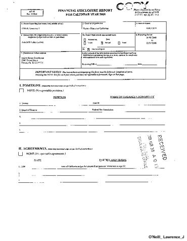Page 1: Lawrence J ONeill Financial Disclosure Report for 2008