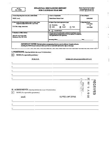 Page 1: Lee R West Financial Disclosure Report for 2005