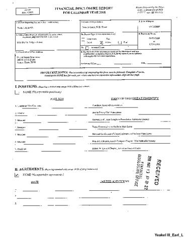 Page 1: Lee Yeakel III Earl Financial Disclosure Report for 2008