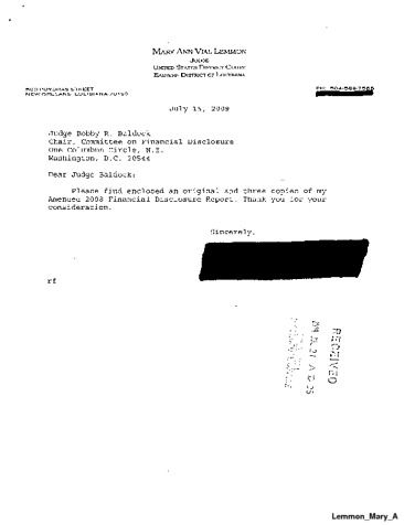 Page 1: Mary A Lemmon Financial Disclosure Report for 2008