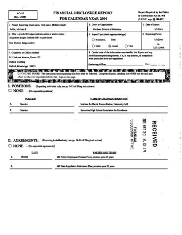 Page 1: Michael P Mills Financial Disclosure Report for 2004