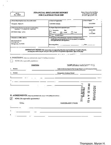 Page 1: Myron H Thompson Financial Disclosure Report for 2009