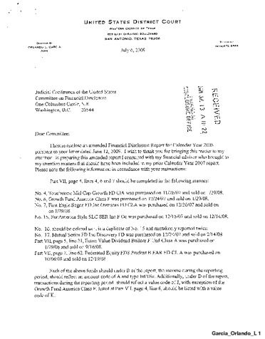 Page 1: Orlando L Garcia Financial Disclosure Report for 2008