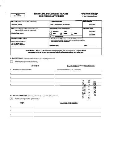 Page 1: Otis D Wright Financial Disclosure Report for 2009