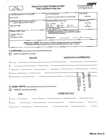 Page 1: Paul R Michel Financial Disclosure Report for 2008