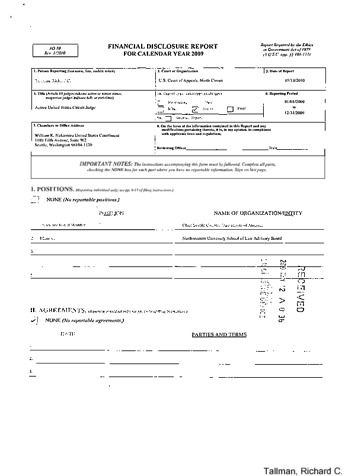 Page 1: Richard C Tallman Financial Disclosure Report for 2009