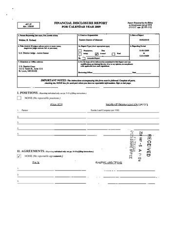 Page 1: Richard E Webber Financial Disclosure Report for 2009