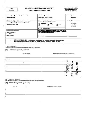 Page 1: Richard L Nygaard Financial Disclosure Report for 2006