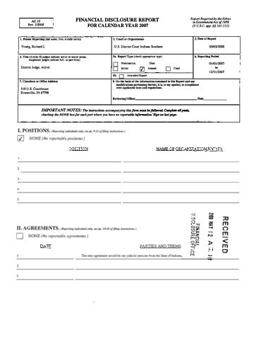 Page 1: Richard L Young Financial Disclosure Report for 2007