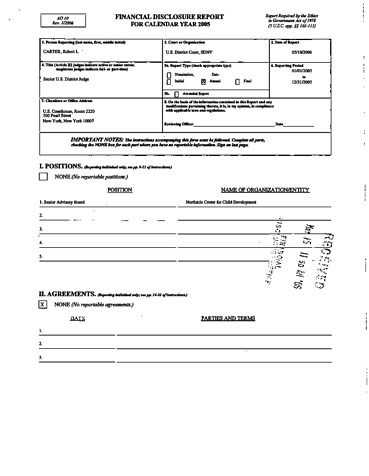 Page 1: Robert L Carter Financial Disclosure Report for 2005