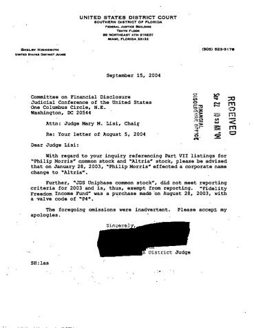 Page 1: Shelby Highsmith Financial Disclosure Report for 2003