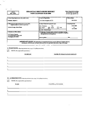Page 1: Stephen F Williams Financial Disclosure Report for 2009