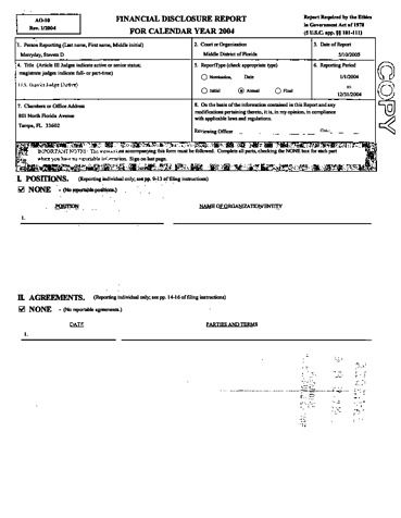 Page 1: Steven D Merryday Financial Disclosure Report for 2004