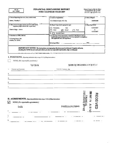 Page 1: Timothy C Batten Financial Disclosure Report for 2007